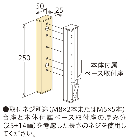壁からの出寸法の調整