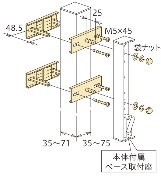 アルミ支柱への取付け②